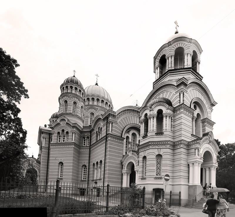 La nativité de la cathédrale du Christ a été établie à une conception par Nikolai Chagin et Robert Pflug, Riga, Lettonie images libres de droits