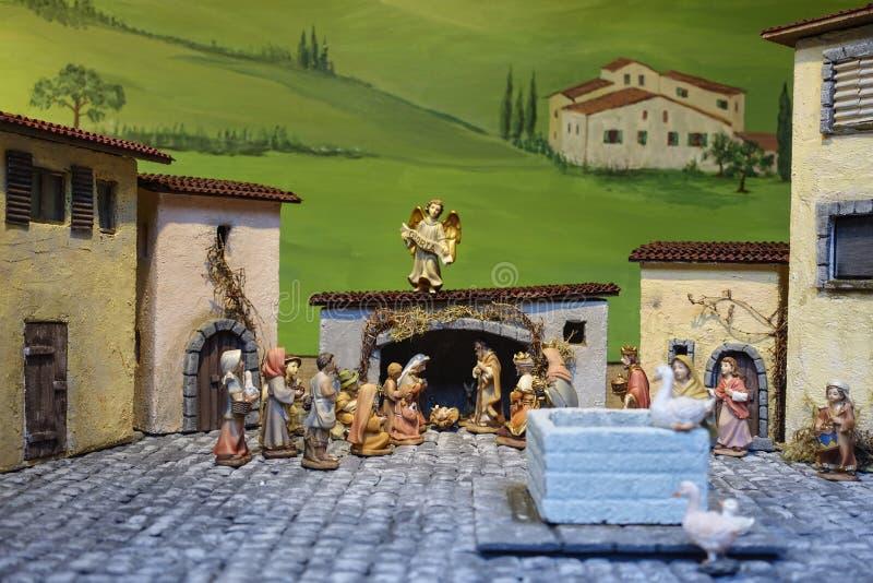 La nativité figure, marché de Noël, Nuremberg, Franconia moyen, image stock