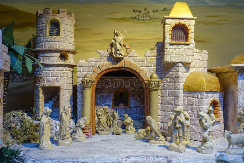La nativité figure, marché de Noël, Nuremberg, Franconia moyen, images libres de droits