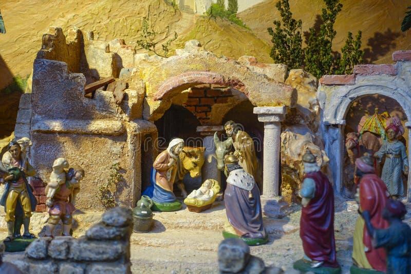 La nativité figure, marché de Noël, Nuremberg, Franconia moyen, photos libres de droits