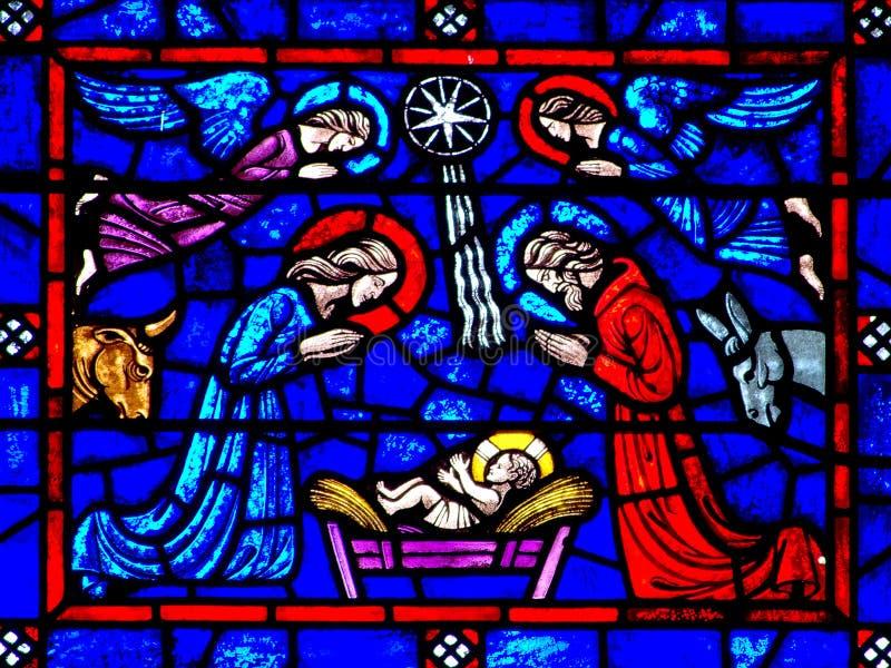 La nativité (naissance de Jésus) en verre stianed images libres de droits