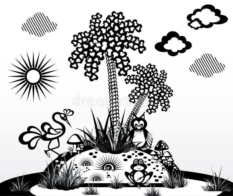 La natura astratta Alberi ed animali royalty illustrazione gratis