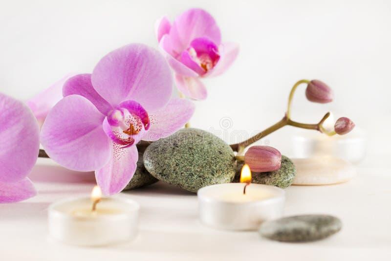 La natura morta della stazione termale con le candele aromatiche fiorisce e pietre fotografia stock libera da diritti