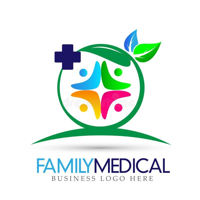 La natura trasversale medica di sanità della famiglia lascia il simbolo dell'icona di logo su fondo bianco illustrazione vettoriale