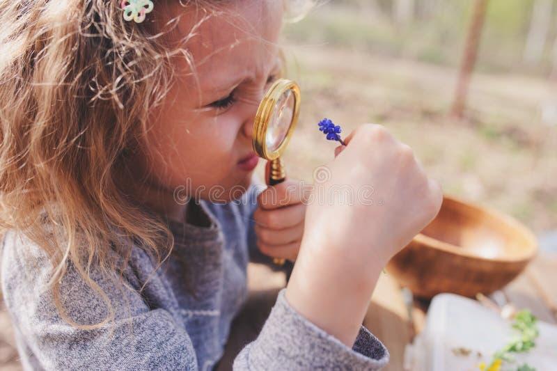 La naturaleza de exploración de la muchacha del niño en bosque temprano de la primavera embroma el aprendizaje amar la naturaleza fotos de archivo libres de regalías