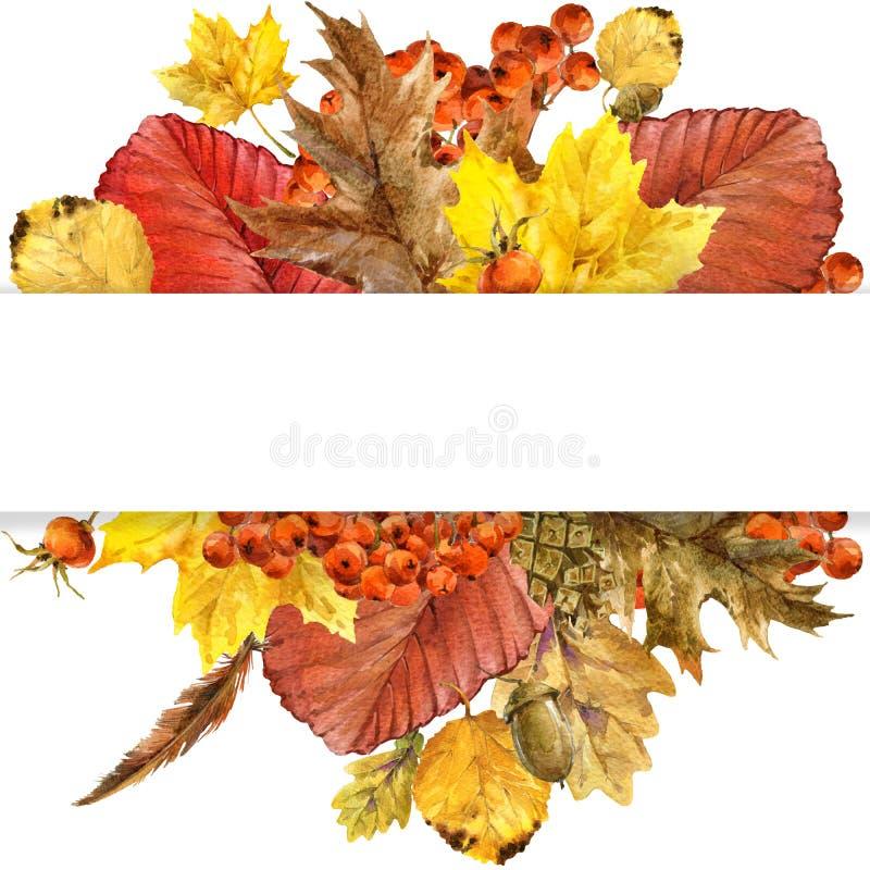 La naturaleza del otoño de la acuarela sale del fondo libre illustration