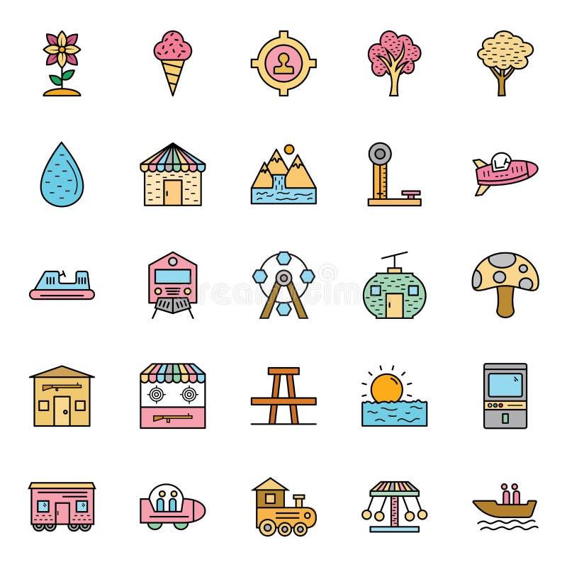La naturaleza, los parques y los árboles aislaron los iconos del vector fijaron que pueden ser modificados y corregir fácilmente  libre illustration
