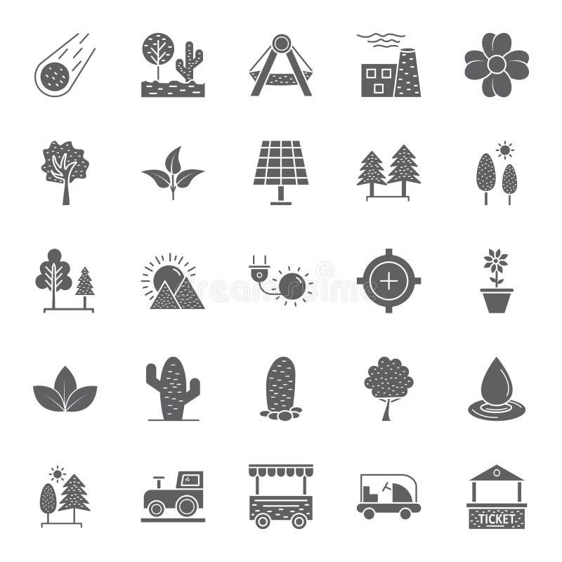 La naturaleza, los parques y los árboles aislaron los iconos del vector fijaron que pueden ser modificados y corregir fácilmente  ilustración del vector