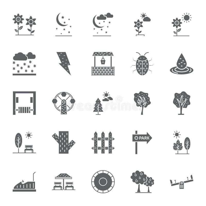 La naturaleza, los parques y los árboles aislaron los iconos del vector fijaron que pueden ser modificados y corregir fácilmente  stock de ilustración