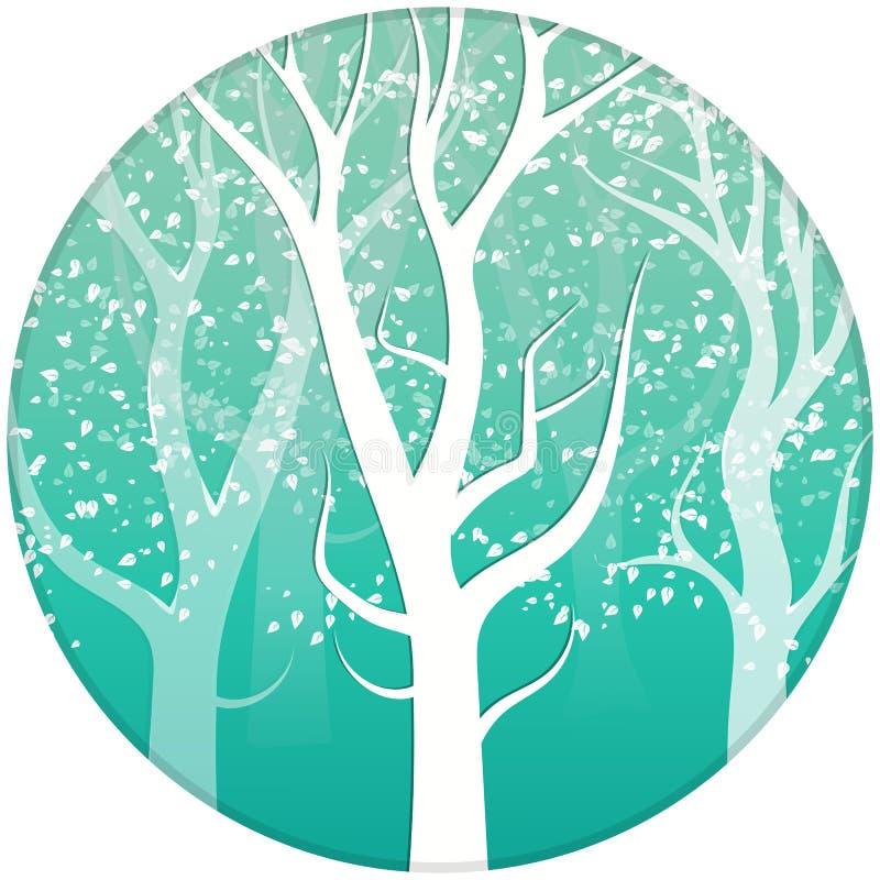 La nature d'arbre pendant l'hiver laisse à dispersion en baisse l'escroquerie blanche neigeuse illustration stock