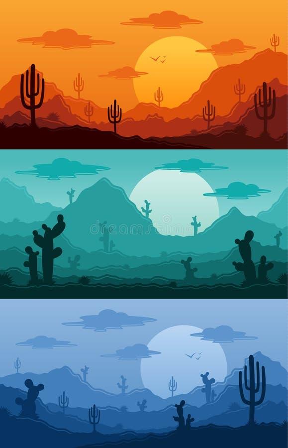 La nature sauvage de désert aménage l'illustration en parc de vecteur illustration stock