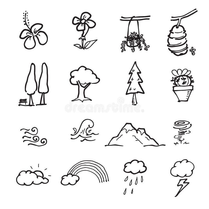 La nature signe des icônes de dessin de bande dessinée illustration de vecteur