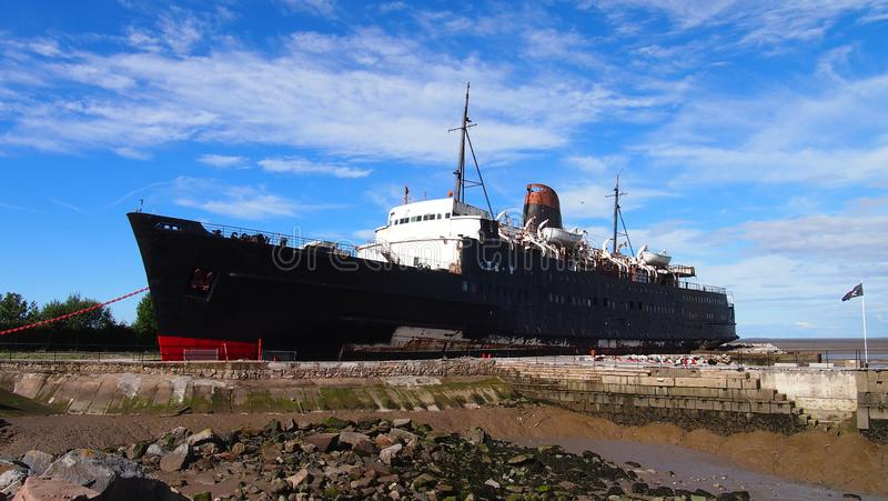 La nave abbandonata il duca della nave di Lancaster, Galles del nord immagini stock libere da diritti