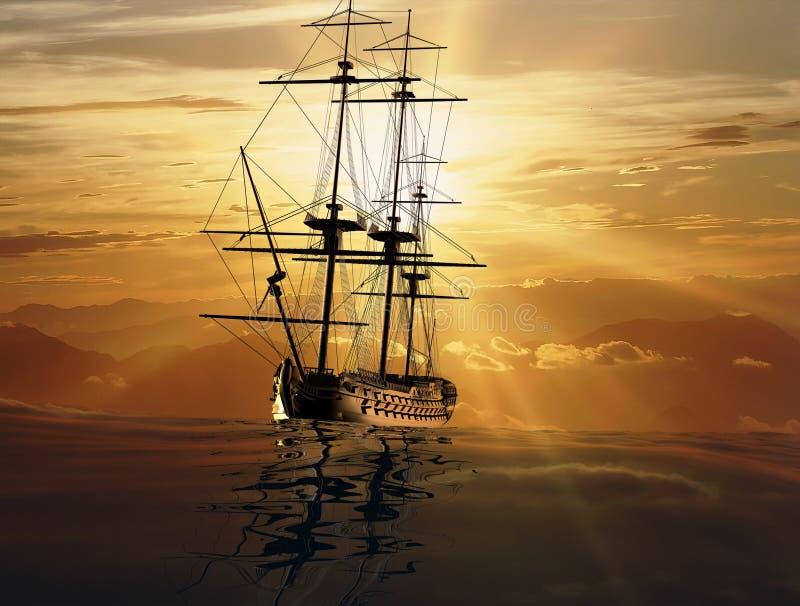 Download La nave antica illustrazione di stock. Illustrazione di background - 7310678