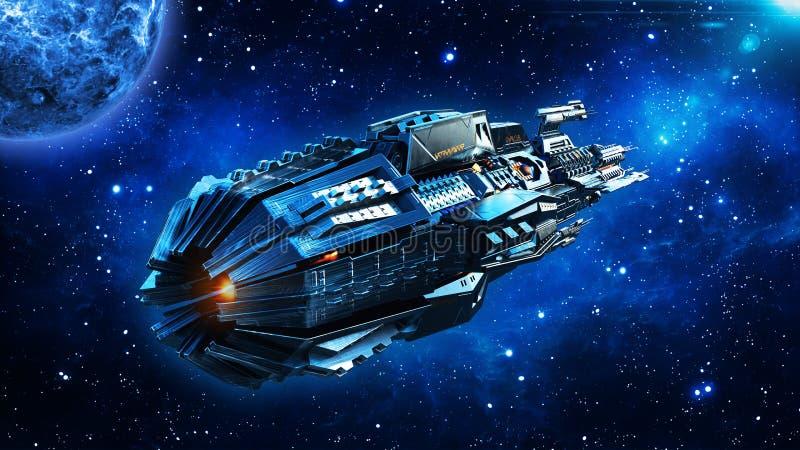 La nave appoggio in superficie straniera, astronave in volo del veicolo spaziale del UFO, dello spazio profondo nell'universo con fotografia stock libera da diritti