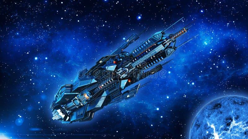 La nave appoggio in superficie straniera, astronave in volo del veicolo spaziale del UFO, dello spazio profondo nell'universo con illustrazione vettoriale