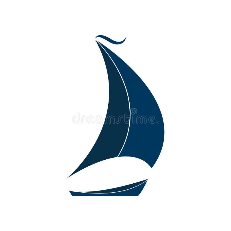La nave con l'illustrazione di vettore delle vele Logo per l'yacht club illustrazione vettoriale