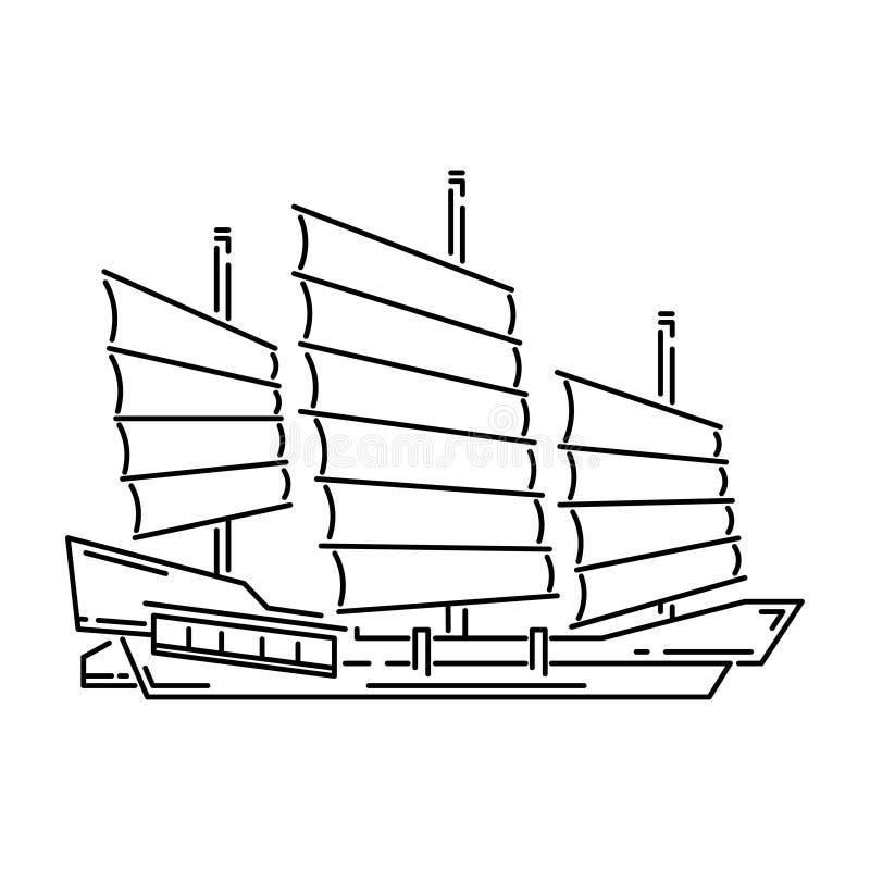 La nave de madera tradicional del buque de Japón, ejemplo del vector de los desperdicios simplificó el icono del viaje Velero vie ilustración del vector
