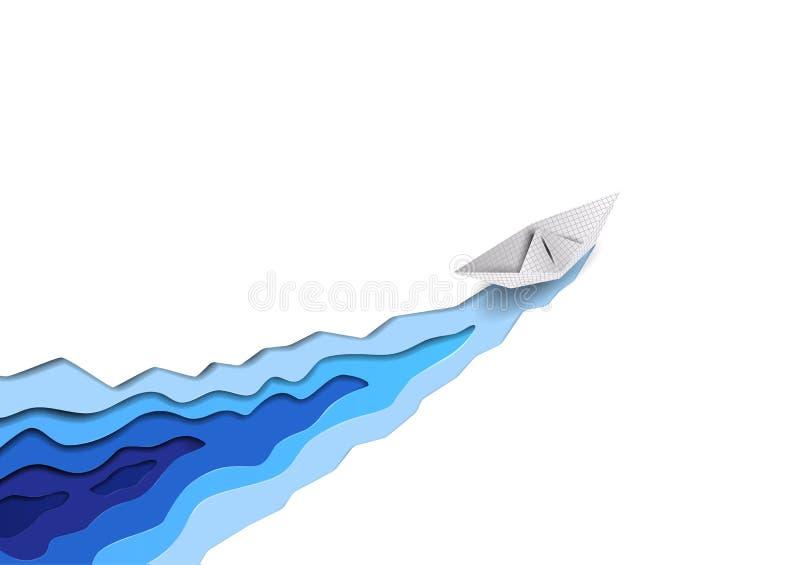 La nave de papel transportada por mar del vector corta ondas del hielo blanco y de agua azul del mar como el rompehielos Concepto libre illustration