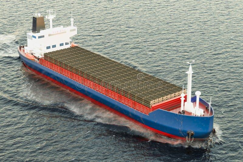 La nave del carguero con de madera abre una sesión el océano, representación 3D stock de ilustración