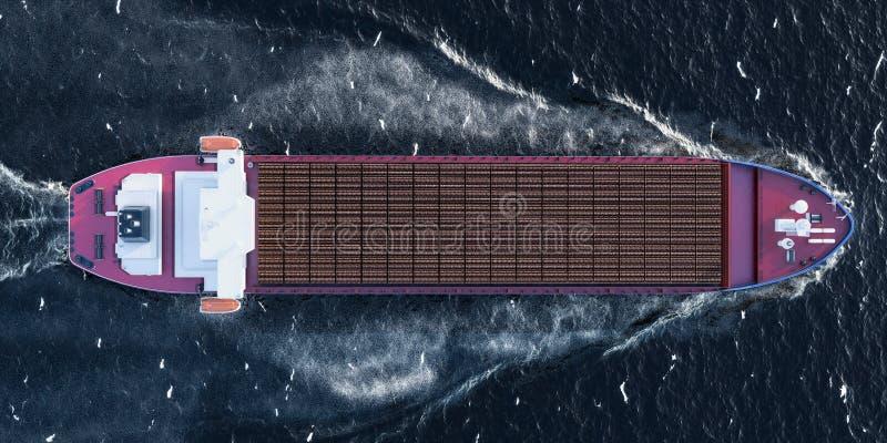 La nave del carguero con de madera abre una sesión el océano, visión superior representación 3d libre illustration