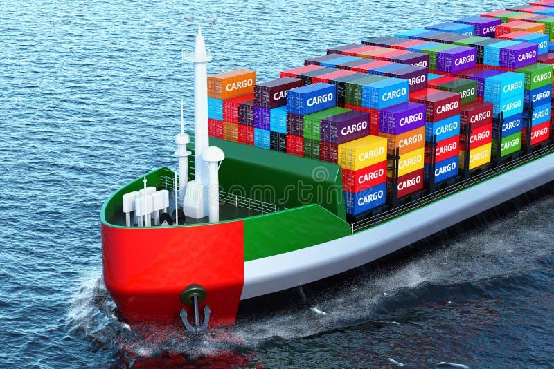 La nave del carguero de los UAE con los contenedores para mercancías que navegan en el océano, 3 ilustración del vector