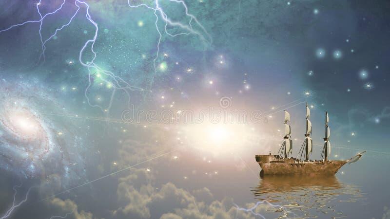 La nave di navigazione naviga le stelle illustrazione di stock