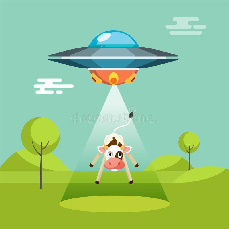 La nave espacial divertida de los extranjeros de la historieta secuestra la vaca ilustración del vector