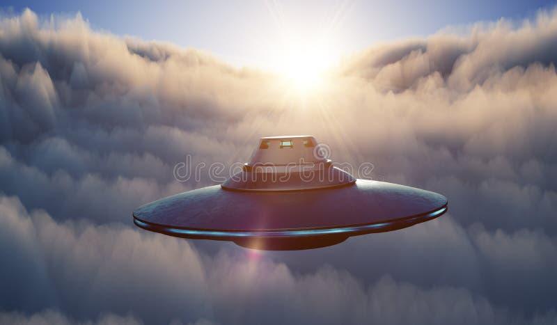 La nave espacial extranjera del UFO está volando en cielo sobre las nubes en la puesta del sol 3D rindi? la ilustraci?n ilustración del vector