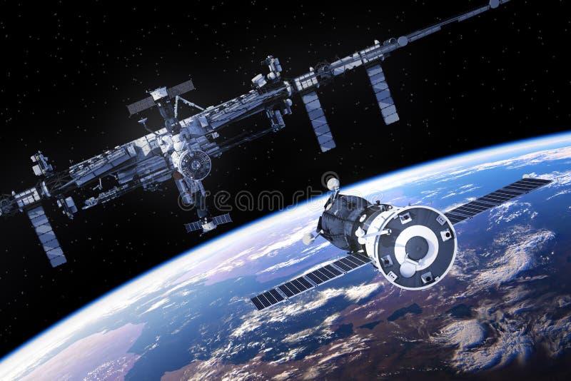 La nave espacial se está preparando para atracar con la estación espacial internacional stock de ilustración