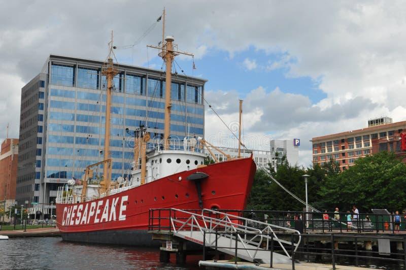 La nave faro del Chesapeake a Baltimora fotografia stock libera da diritti