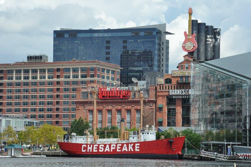 La nave faro del Chesapeake a Baltimora immagini stock