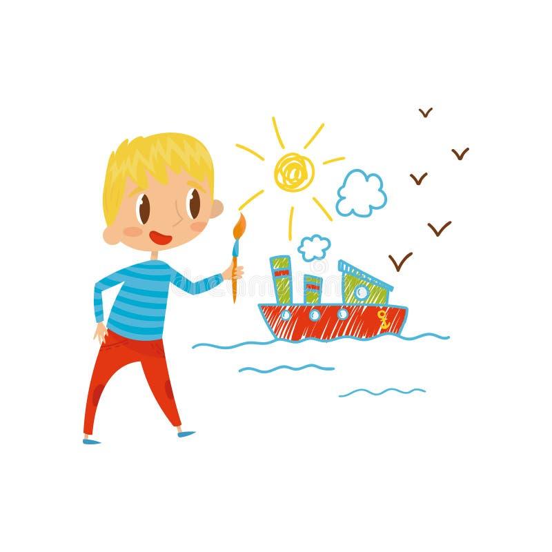 La nave sveglia della pittura del ragazzino con le pitture di colore e la spazzola sulla parete, giovane artista, scherza il vett illustrazione di stock