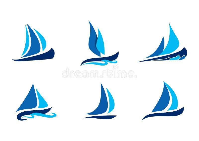 La navegación, barco, logotipo, símbolo del velero, los diseños creativos del vector fijó de la colección del icono del logotipo  stock de ilustración