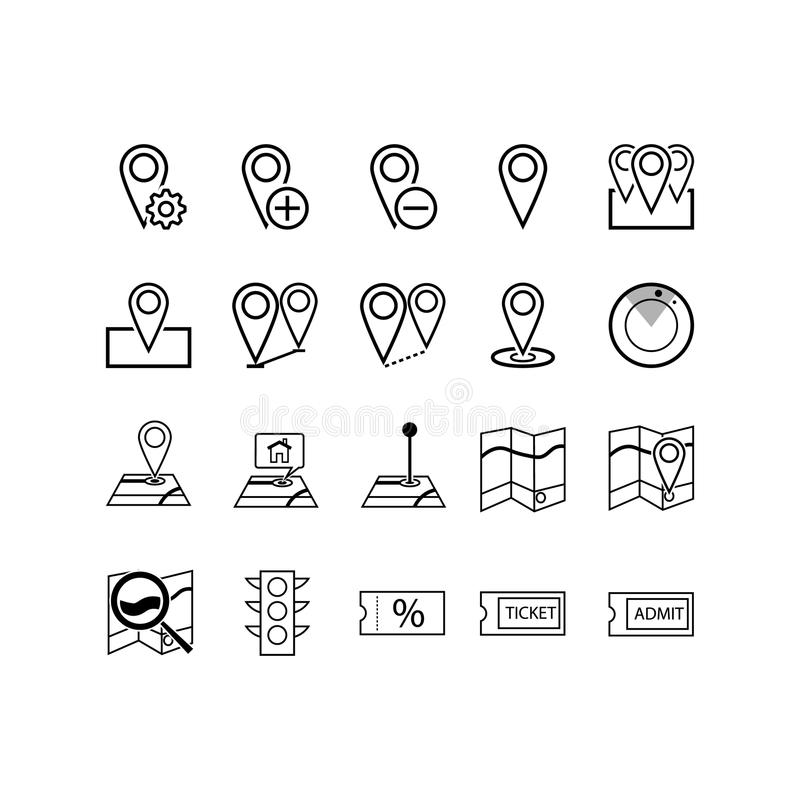 La navegación, la dirección, los mapas, el tráfico y más, línea fina iconos fijan, vector el ejemplo ilustración del vector