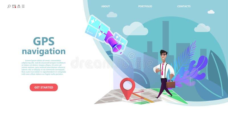 La navegación GPS, hombre del personaje de dibujos animados camina en un mapa de la ciudad al punto final de la ruta stock de ilustración