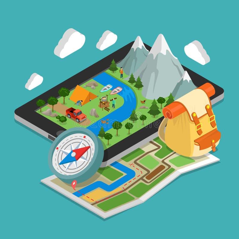 La navegación GPS móvil isométrica plana 3d traza conce ilustración del vector
