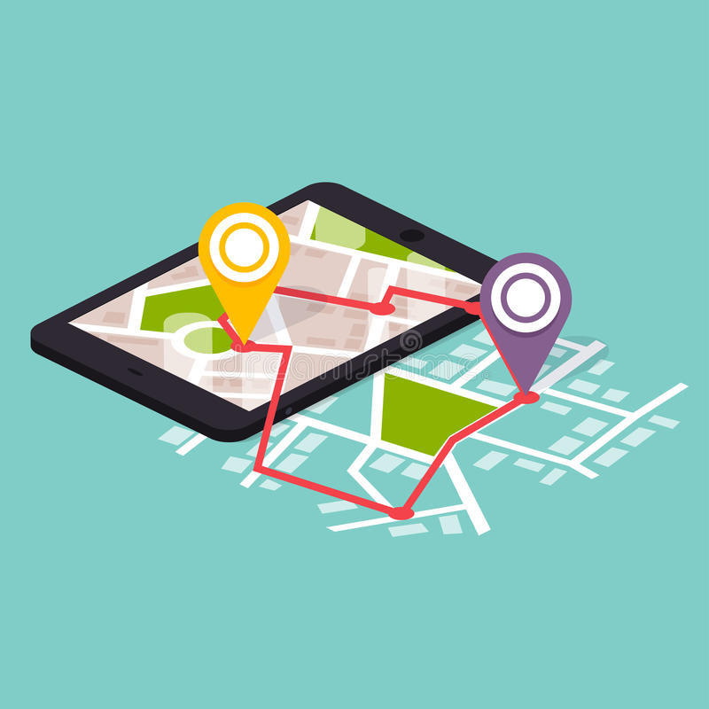 La navegación móvil isométrica plana 3d traza infographic Mapa de papel ilustración del vector