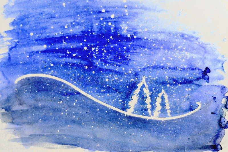 La Navidad Árboles blancos en el fondo violeta fotografía de archivo libre de regalías