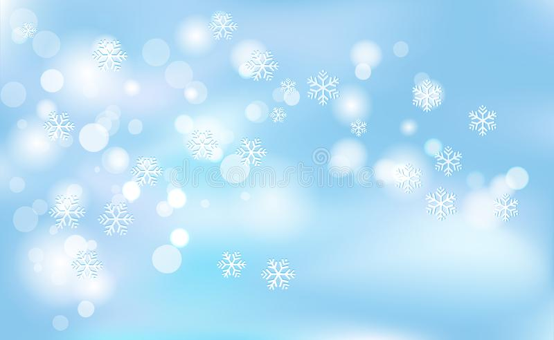 La Navidad, Años Nuevos de bokeh caótico de la falta de definición de copos de nieve ligeros en azul del fondo Ejemplo del vector ilustración del vector