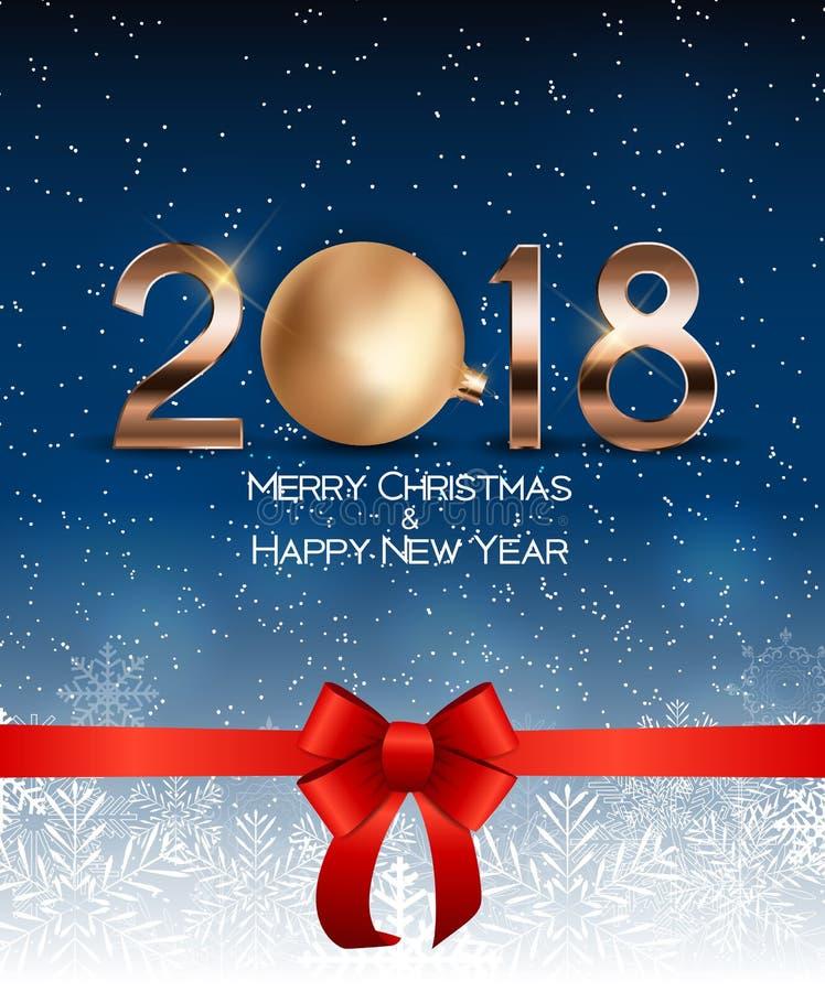 La Navidad abstracta de la belleza y fondo del Año Nuevo 2018 Ilustración del vector ilustración del vector