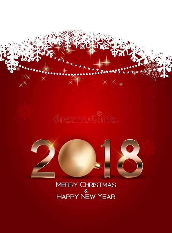La Navidad abstracta de la belleza y fondo del Año Nuevo 2018 Ilustración del vector stock de ilustración
