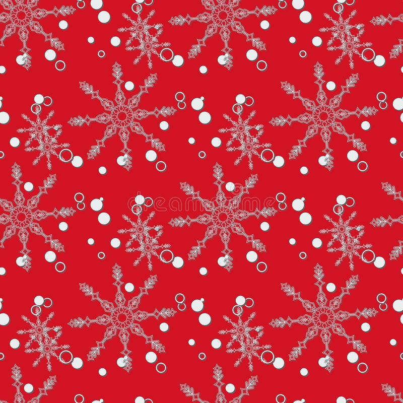 La Navidad abstracta y Año Nuevo inconsútiles en fondo rojo Modelo del copo de nieve Ilustración EPS 10 del vector fotografía de archivo