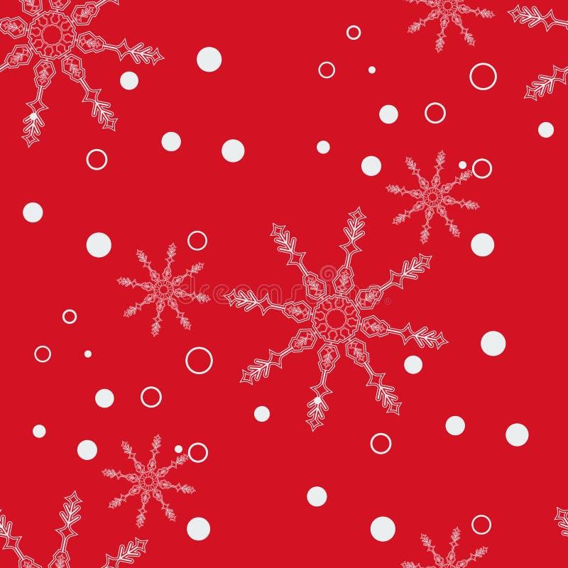 La Navidad abstracta y Año Nuevo inconsútiles en fondo rojo Modelo del copo de nieve Ilustración EPS 10 del vector libre illustration