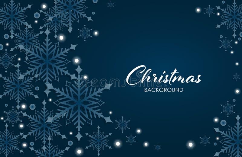 La Navidad abstracta y A?os Nuevos de fondo con los copos de nieve blancos, forma del c?rculo en fondo azul con el espacio de la  imágenes de archivo libres de regalías