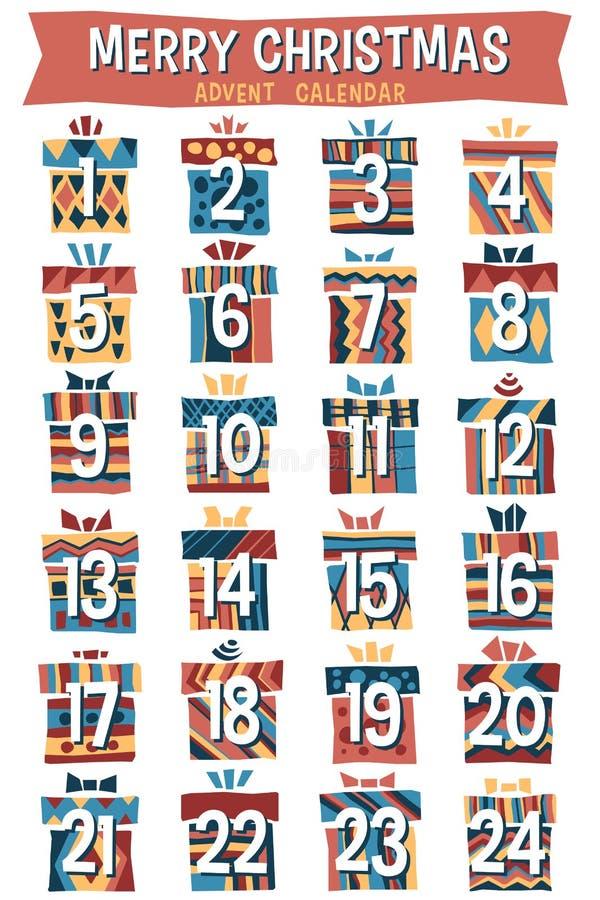 La Navidad Advent Calendar de la historieta del inconformista ilustración del vector