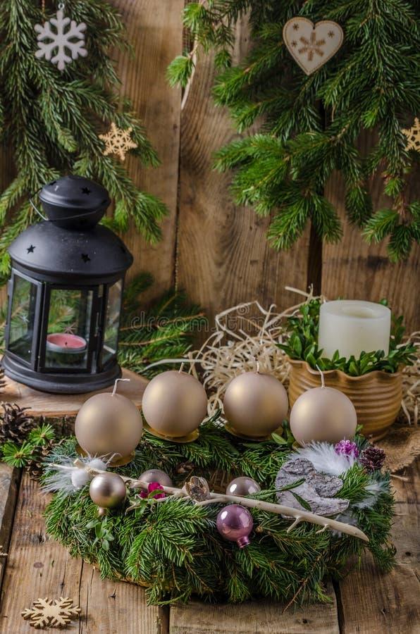 La Navidad Advent Wreath foto de archivo