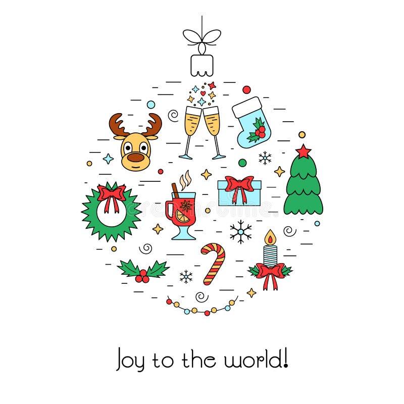 La Navidad aisló concepto coloreado con cualidades tradicionales bajo la forma de bola de la Navidad Diseño plano de iconos linea libre illustration
