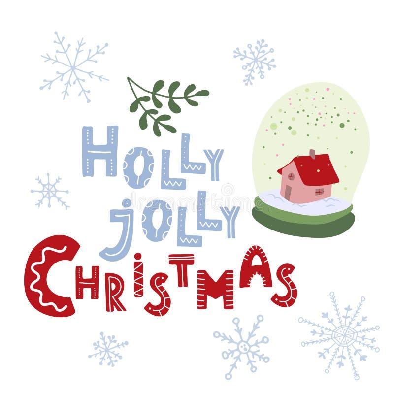 la Navidad alegre del acebo Letras dibujadas mano Globo de la nieve ilustración del vector