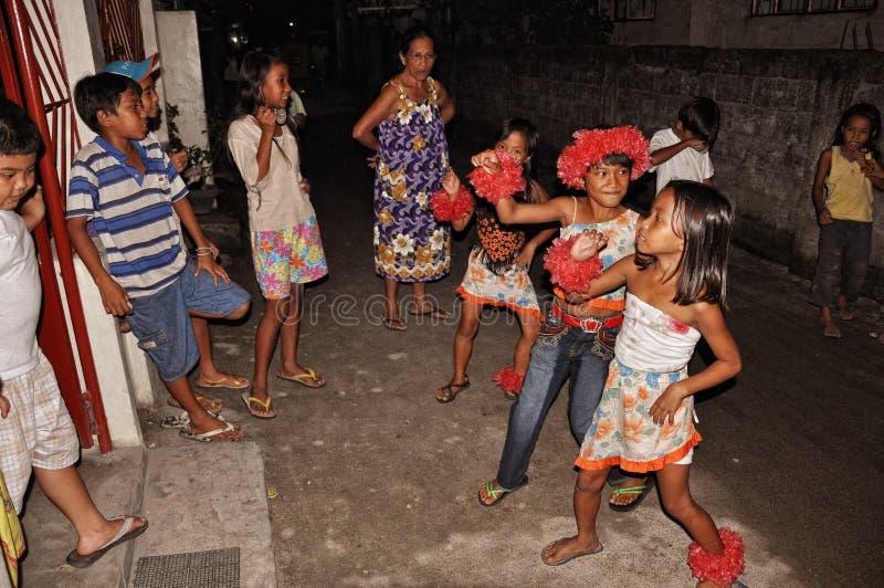 La Navidad Caroling en las Filipinas fotografía de archivo libre de regalías